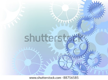 illustration with blue gears background