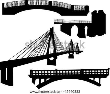 illustration with bridge silhouette collection isolated on white background