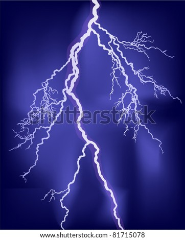 illustration with bright lightning in lilac sky