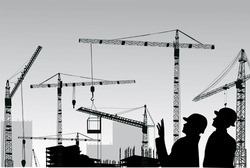 illustration with builder and crane silhouettes