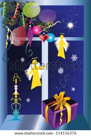 illustration with christmas tree branch near dark window