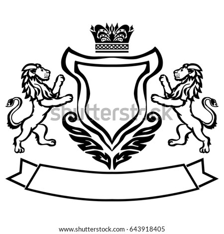 d9da9cd03d362 Illustration with coat of arms with lions.Tattoo design element. Heraldry  and logo concept