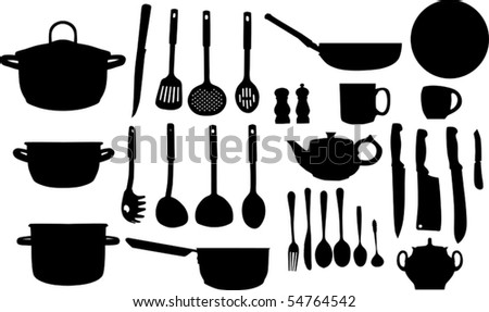 illustration with collection of ware isolated on white background
