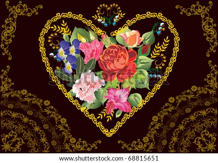 illustration with color flowers
