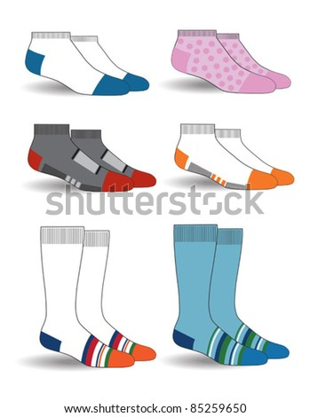 illustration with colorful socks - stock vector