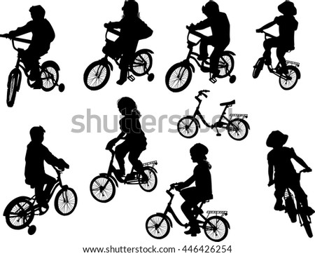 illustration with cyclists isolated on white background