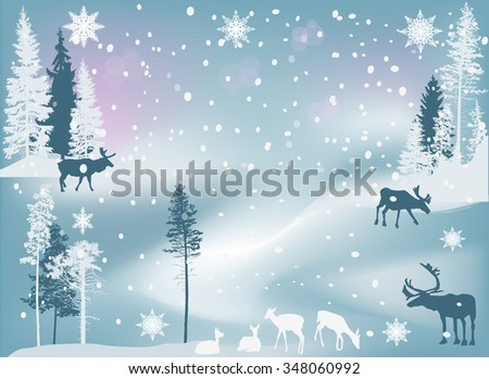 illustration with deer in winter forest