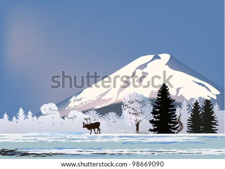 illustration with deer near snow mountain - stock vector