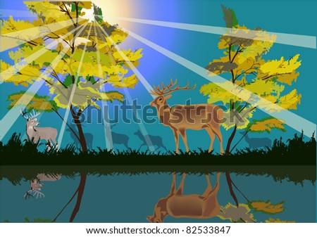 illustration with deers in yellow forest - stock vector