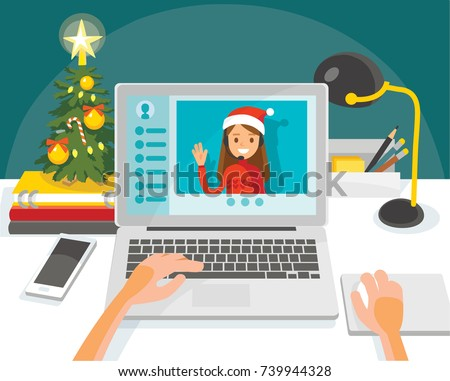 Illustration with desk and laptop. Christmas time