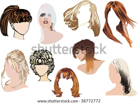 vector : illustration with different women heads with modern hairstyles