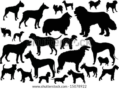 stock vector : illustration with dog silhouettes isolated on white