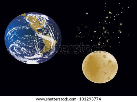 illustration with earth and moon isolated on black background