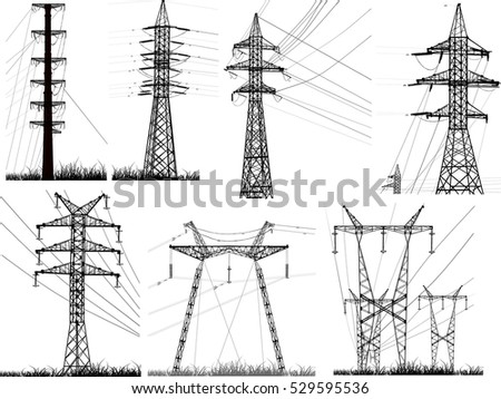 illustration with electric towers collection isolated on white background