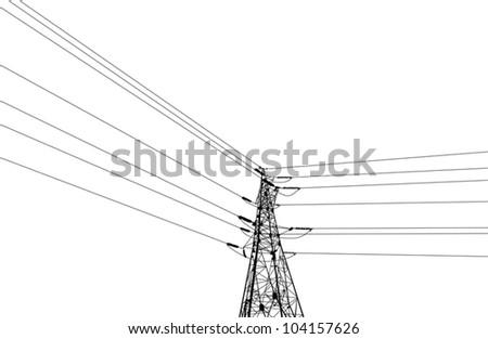 illustration with electrical pylon isolated on white background
