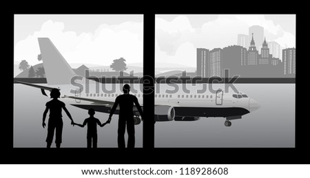 illustration with family in airport