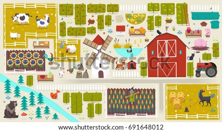 illustration with farm elements ...