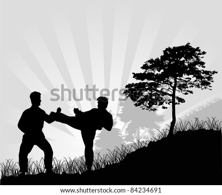 illustration with fighting man silhouettes at sunset