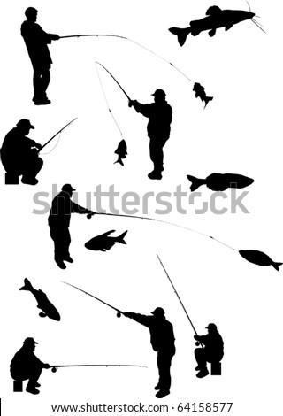 illustration with fishermen and fishes silhouettes isolated on white