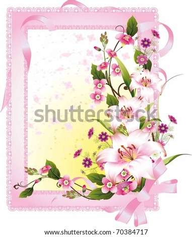 illustration with floral frame decoration on white background