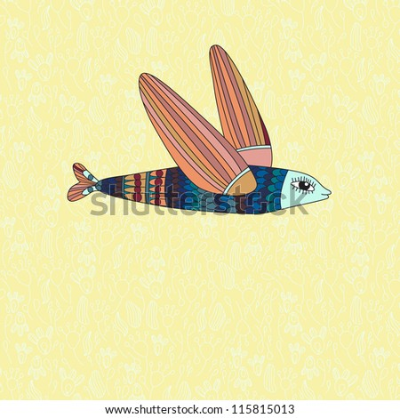 illustration with flying fish