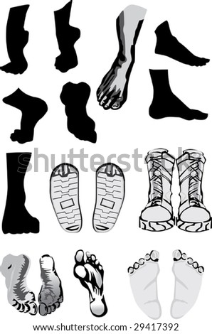 illustration with foots and shoes isolated on white
