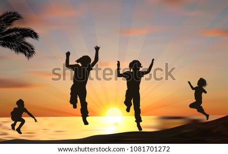 illustration with four jumping