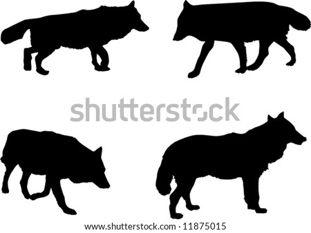 black and white wolf drawings. with four wolf silhouettes