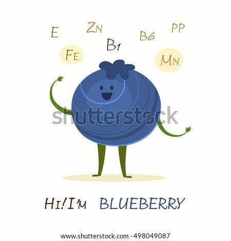 Illustration with funny character. Funny and healthy food. Vitamins contained in blueberry. Food with cute face. Vector cartoon.