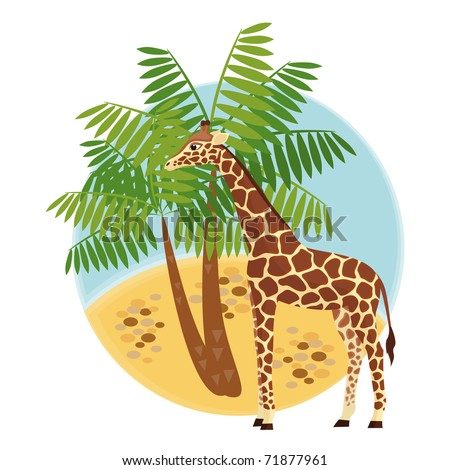 Illustration with giraffe and palm