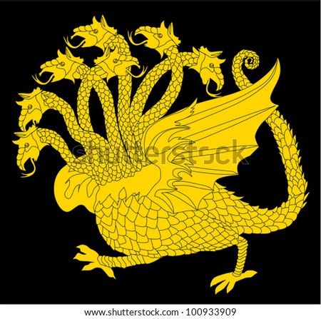 illustration with gold dragon