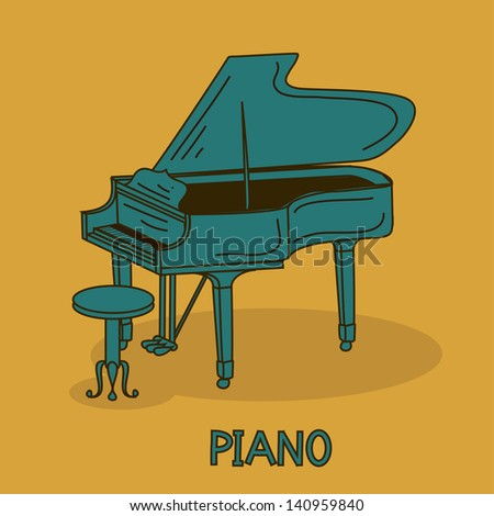Illustration with grand piano and chair