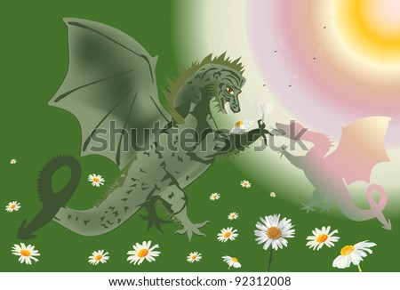 illustration with green dragons on chamomile field