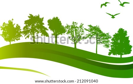 illustration with green trees