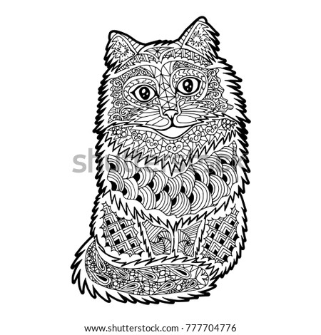 Illustration with hand drawn cat with doodles. Drawing for coloring book. Hand Drawn zentangle.