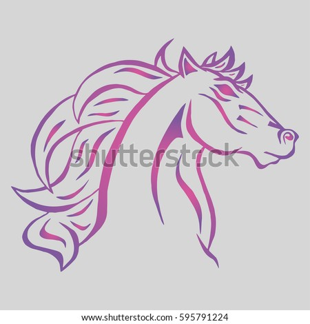 Illustration with hand drawn horse head. Tattoo design element. Heraldry and logo concept art.Drawing for coloring book.