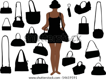 illustration with handbag silhouettes isolated on white background