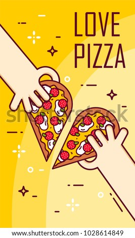 Illustration with hands and  half of pizza. Vector banner for fast food. Thin line flat design.