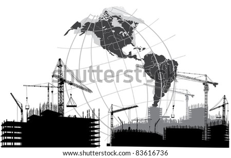 illustration with house building and the globe silhouette