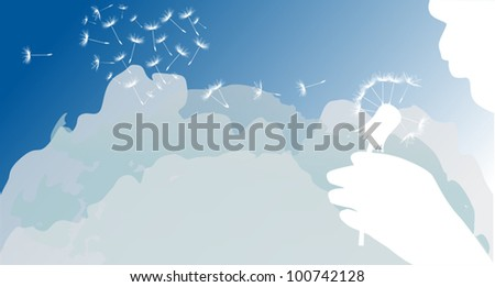 illustration with human blowing on dandelion