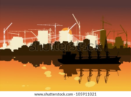 illustration with industrial ship and new city building