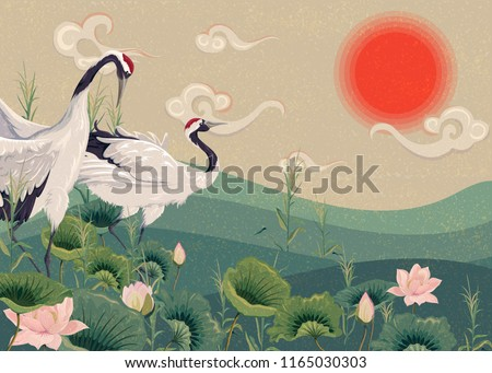 Illustration with Japanese cranes in the lake at sunset