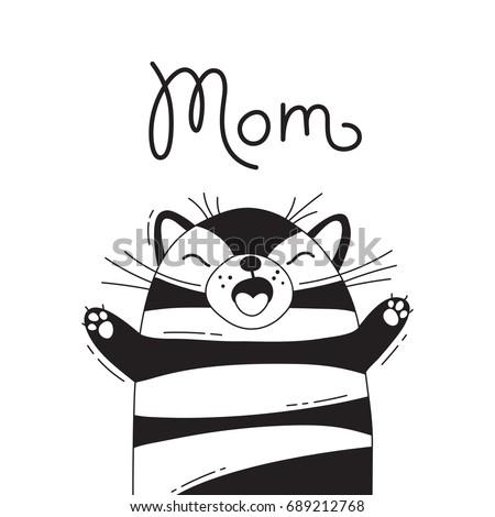 illustration with joyful cat
