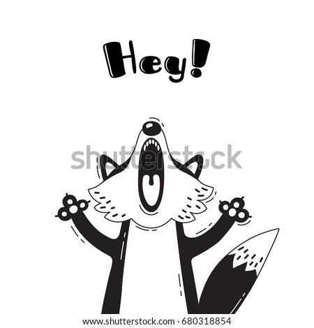 illustration with joyful fox