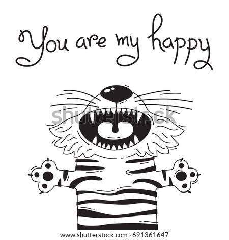 illustration with joyful tiger