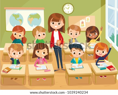 Illustration with kids and teacher in a classroom. Education illustration. Vector interior.