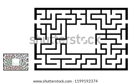 Illustration with labyrinth, maze conundrum for kids. Baby puzzle with entry and exit. Children riddle game.