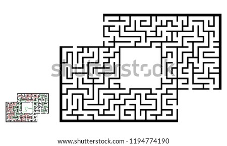 Illustration with labyrinth with places for your images, maze conundrum for kids. Baby puzzle with entry and exit. Children riddle game.