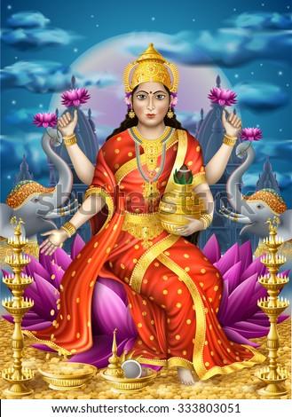 illustration with lakshmi the
