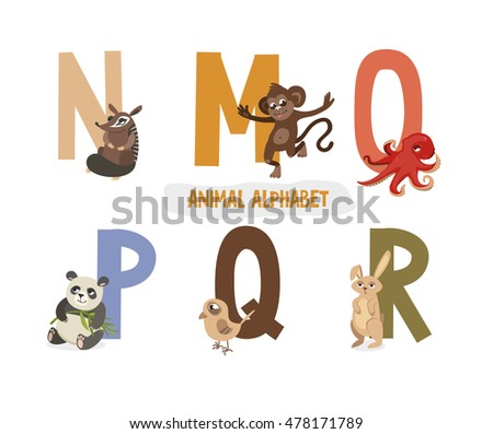 illustration with letters and animals. book for children. ABC. N, M, O, P, Q, R Stock fotó ©